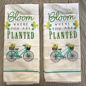 Bloom where you are planted bike flower towels set